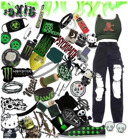 Green emo outfit