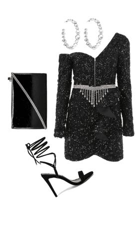 pretty in black glitter