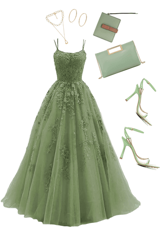 sage green prom look