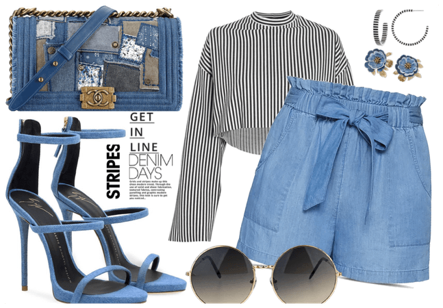 Striped top and Denim Short