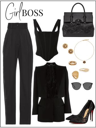 Girl boss in black