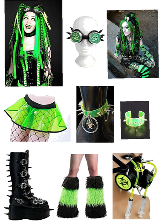 Cyber Goth green outfit 💚⛓🖤