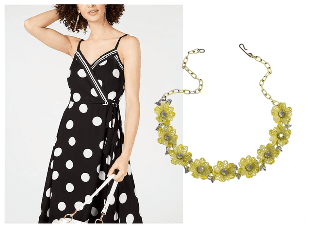 Yellow Polka Dot Dress with Vintage Yellow Flower