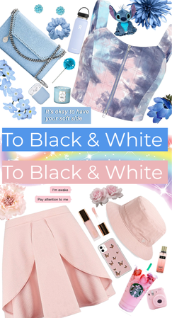 Pink&Blue outfit to Black&White