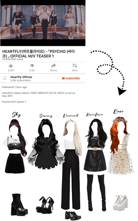 HEARTFLY's Psycho first teaser outfits.