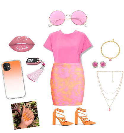 orange-pink trendy look