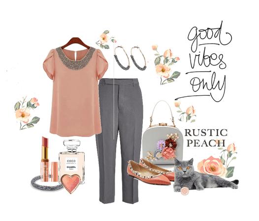 Rustic Peach & Grey