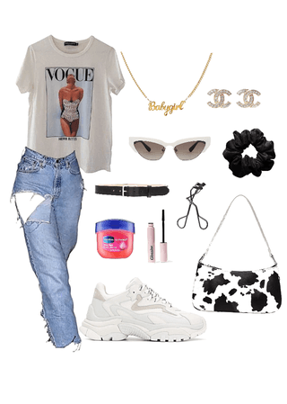 Vogue top with cow print purse