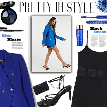 Blue Blazer//Black Dress