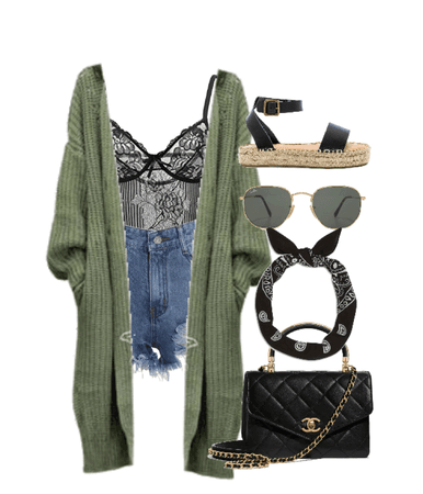 green and black casual lace