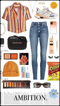 Orange Desiner Street Outfit