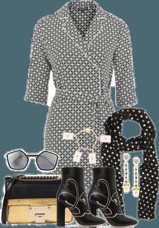 Black and Gold Geometric Dress