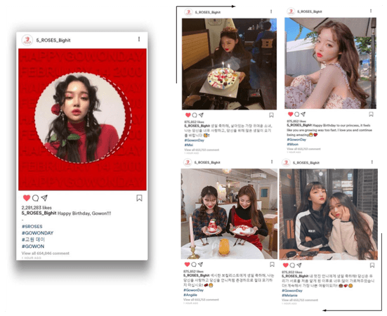 𝟱𝗥𝗢𝗦𝗘𝗦 5 장미 Gowon Birthday Instagram posts