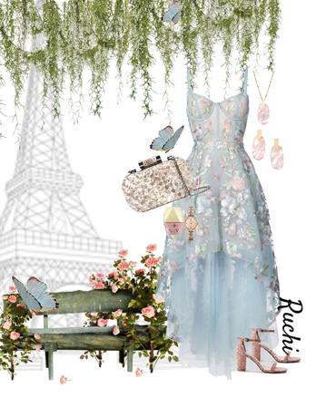 #summer wedding guest #pastel #skyblue #softpink #high low dress #Corset style #sweetheart neckline #paris