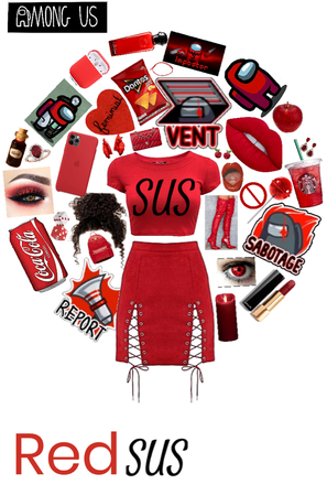among us character outfit (red)
