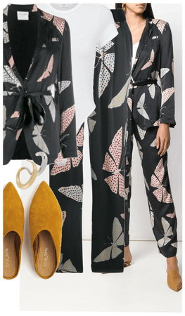 Forte forte butterfly print suit