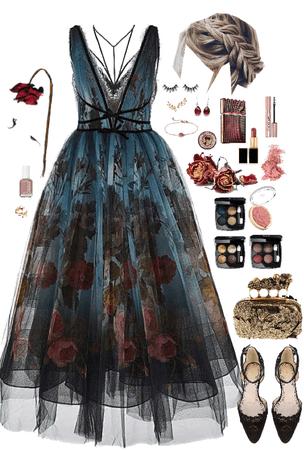 Rose Blue Blush Formal Black Lace