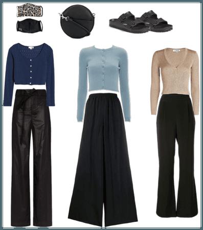 wfh edit -- chic black pants and cardigans