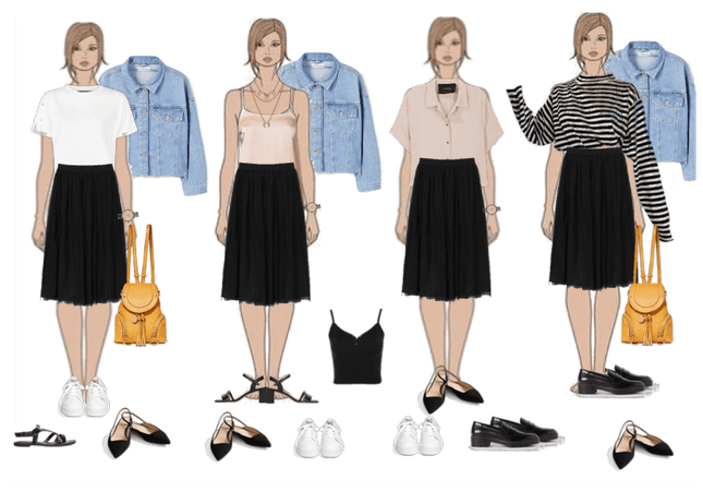 Basic outfit with skirt (dark)