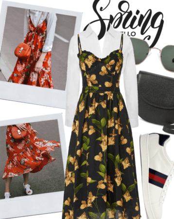 say hello to spring but in a midi dress