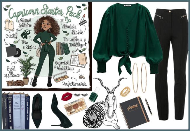 Green and Black Capricorn