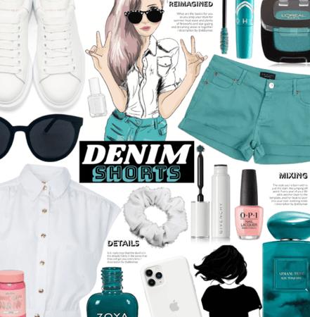 Denim Shorts| Teal, White And black|