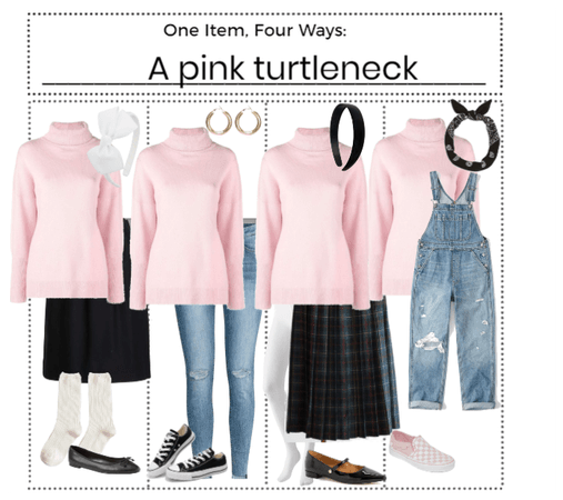 One Item, Four Ways: A Pink Turtleneck
