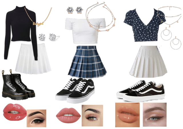Blue, Black & White outfits