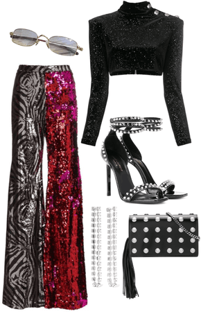 glittery party outfit