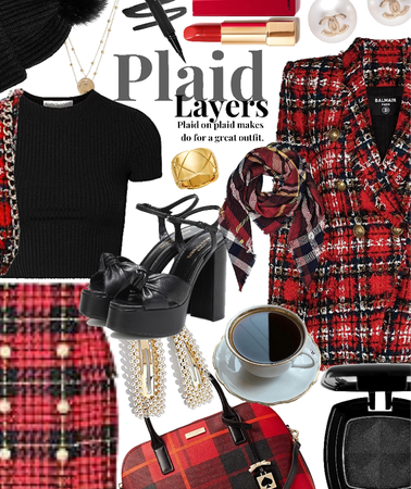 plaid layers with red plaid