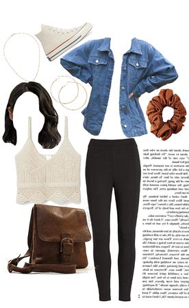 Vintage denim jacket + leggings outfit