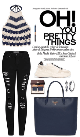 Blue and black fall outfit