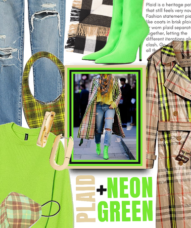 plaid + neon green
