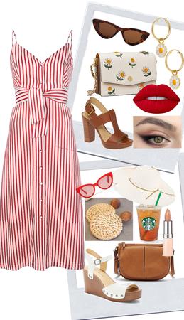 Spring Midi Dress - red & white stripe