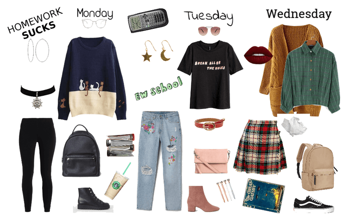 School Outfits Monday-Wednesday