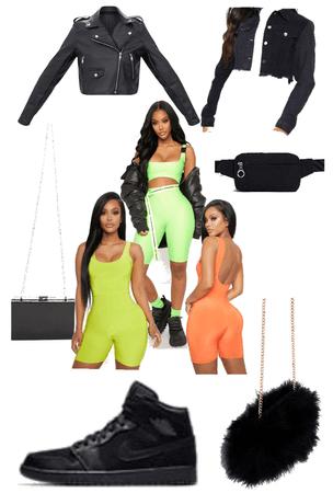 neon lime dress down