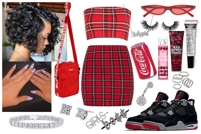 Red insta baddie outfit