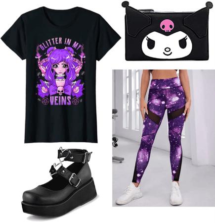black and purple anime girl