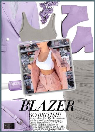 Purple bra top and blazer