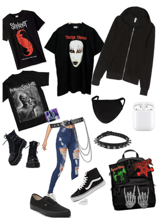 Emo gothic grunge. Alternative back to school outf