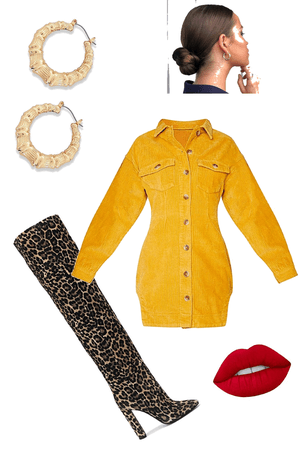 mustard fall dress with wild boot combo