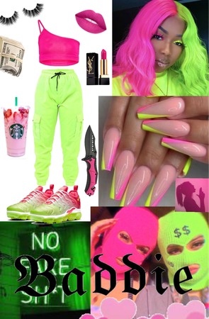 neon green 💚 and pink 💖 baddie
