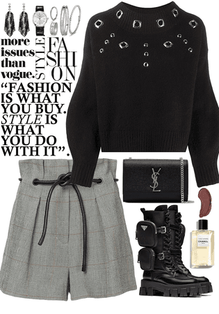 chic, fashionable outfit with silver jewelry