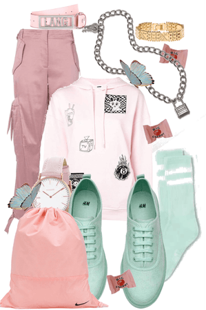 Wearing pink and mint