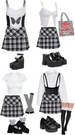 black plaid skirt ideas