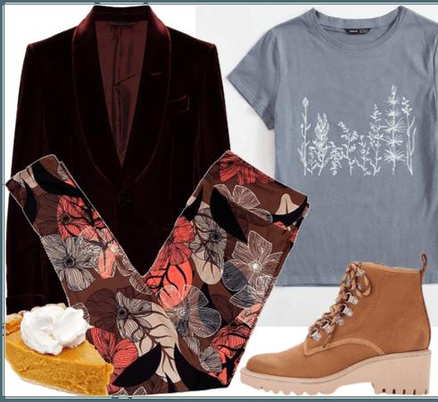 fall trend - fall florals + velvet blazer
