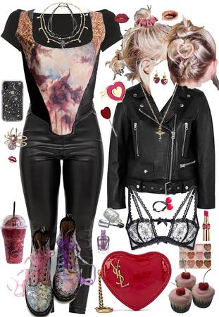 Punk Cherry Pink Black Heart
