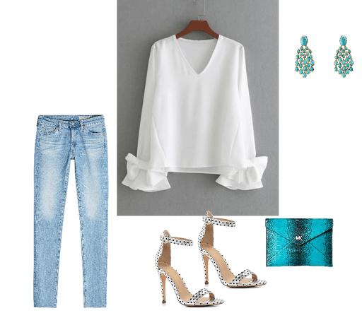 White blouse and denim