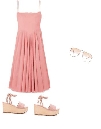 Casual/Nice Dress - Pink/Beige