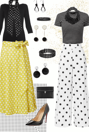 B & W Polka Dots with Yellow